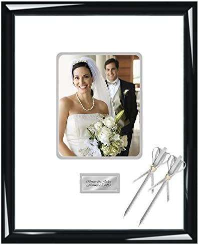Amazon Com Personalized Autograph Picture Frame Signature Photo Guest Book Frame Round Corner 8x10 Portrait 16 X 20 Shiny Majestic Black Engraved Wedding Anniversary Retirement Matted Inner Gray Single Frames