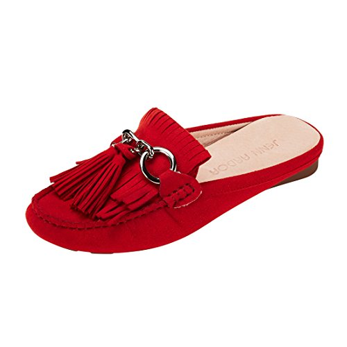 JENN ARDOR Women's Tassel Mule Shoes Slip-on Flat Loafer Shoes by JENN ARDOR