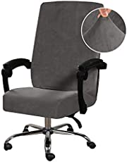 H.VERSAILTEX Velvet Office Chair Cover Stretch Computer Desk Chair Slipcover Universal Executive Boss Chair Cover Anti-Dust Removable Rotating Slipcover Machine Washable High Back Large Size, Grey
