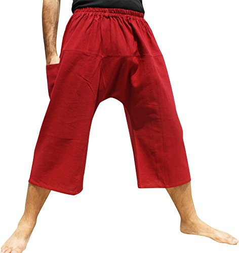 Raan Pah Muang Brand Thailand Sadaw Baggy 3/4 Leg Peasants Pants Warm Cotton, XXX-Large, Crimson Glory Red For Sale