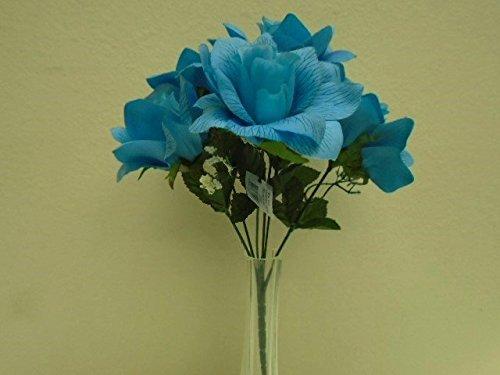 3 Bushes BLUE TURQUOISE Open Rose 6 Artificial Silk Flower 13' Bouquet 590TQ