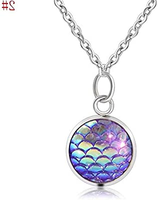 one Design Mermaid Scale Resin Charm Pendant Alloy Chain Necklace For Women