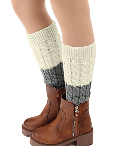 Century Star Winter Womens Socks Button Lace Leg Warmers Knit Boot Cuffs A Dark Grey White (Child Purple Furry Boot Covers)