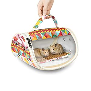 ASOCEA Hamster Carrier Bag Portable Small Animals Outgoing Travel Bag for Guinea Pig Hedgehog Bird Squirrel Chinchilla…