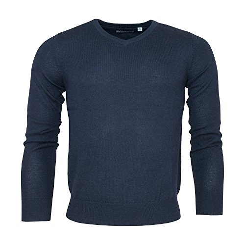 Golf Wool Sweater (Ashworth Mens Long Sleeved Merino Wool Golf Sweater - Black or Navy - Small)