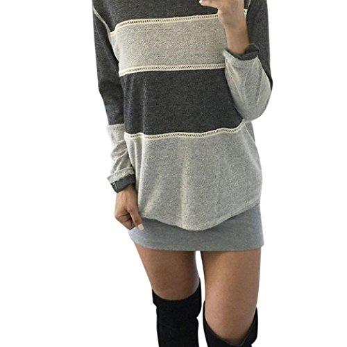 Winwintom Las mujeres blusa a rayas de manga larga Casual Tops T Camisa