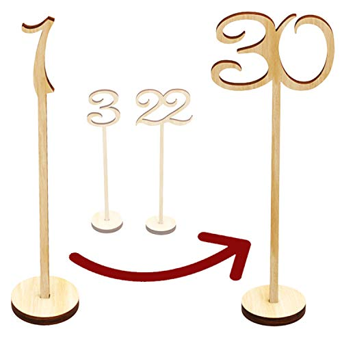 Wooden Table Numbers 1-30 Wedding Decor Centerpieces Thick Heavy Duty Tall Natural Signs Holder Vintage Decorations For Reception Cafe Restaurant Hotel Party Home Birthday Anniversary Banquet Catering ()