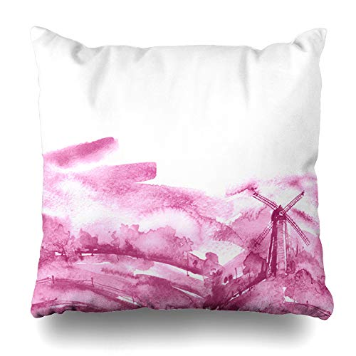 Ahawoso Throw Pillow Cover Pillowcase Holland Pink Agriculture Watercolor Painting Mill Paint Abstract Celebration Countryside Drawing Home Decor Design Square Size 18