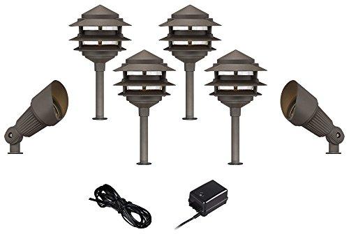 Pagoda-Spotlight Bronze 8-Piece LED Landscape Light Kit Set
