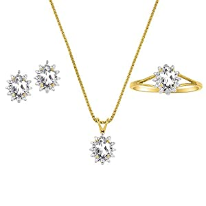 April Birthstone Set - Ring, Earrings & Necklace - White Topaz in 14K Yellow Gold or 14K White Gold