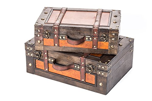 Trademark Innovations Vintage Style Wood Decorative Suitcases - (Set of 2) - Decorative Trunk