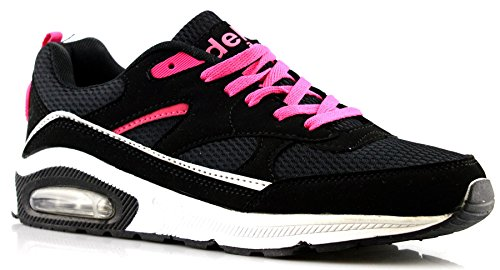 Air Tech Ladies Womens Gym Jogging Running Lace up Trainers Shoes Size 4-8- Black 0QTKYCf