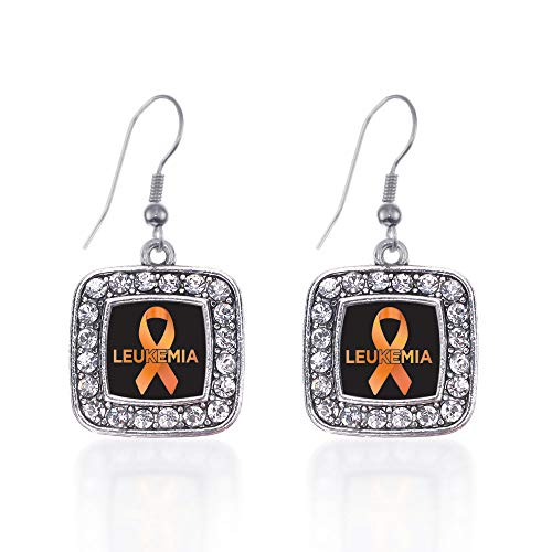 - Inspired Silver - Leukemia Support Charm Earrings for Women - Silver Square Charm French Hook Drop Earrings with Cubic Zirconia Jewelry