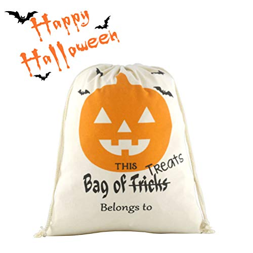 Halloween Personalized Drawstring Bag Reusable Trick or Treat Candy Sack Bags Canvas Bag Larger Size -
