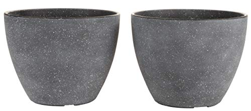 Plastic Flower Pots - 2-Set Small Garden Planters, Indoor and Outdoor Plant Unbreakable Vase Containers, Black, 8.6 Inches Diameter