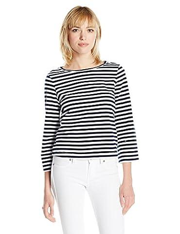 AG Adriano Goldschmied Women's Lyric Bell Sleeve, Breton Stripe True Black White, Small - Breton Stripe