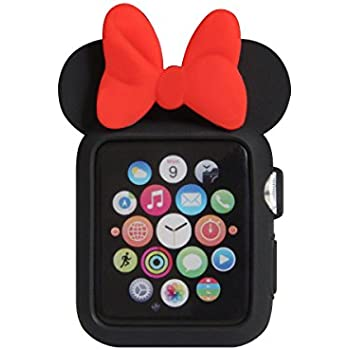 Navor Soft Silicone Protective Case Disney Character Minnie Mouse Ears Compatible with Apple Watch 42mm Series 1 2 3 [Black Red]