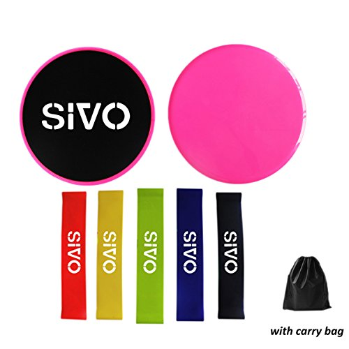 Sivo Sports Core Fitness Sliders with Set of 5 Resistance Lo