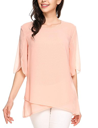 Zeagoo Womens Casual Scoop Neck Loose Chiffon Blouse Chiffon Blouse Pink