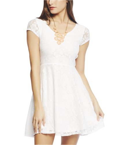 Wet Seal Women's Lace Skater Dress M White