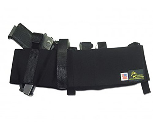 BLUESTONE Tactical Belly Band Holster Fits Glock 17, Glock 19, Glock 21, Glock 22, Glock 23, Glock 26, Glock 27, Glock 42, Glock 43, and Smaller Glock Models, S&W Shield, S&W M&P, and Similar sized Handguns, Sig Sauer, p220, p226, p228, p229, p239, p250, Beretta 92fs, Ruger SR9, and Similar models, 4 inch barrel revolvers, 2.5 inch barrel revolvers