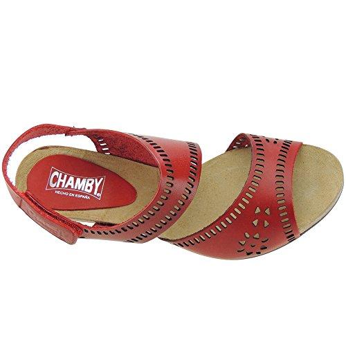 CHAMBY - Sandalia Vaquetilla Tacón 7Cm - Modelo 2510 Rojo