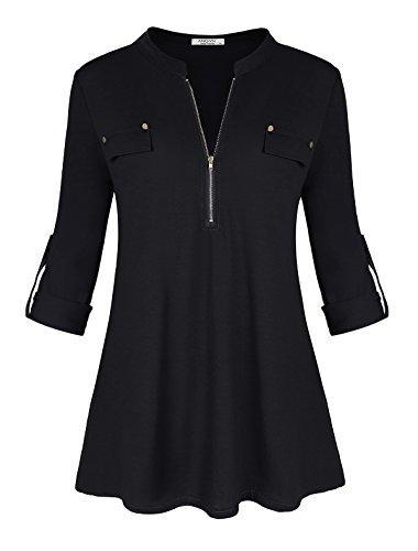 Ya Ya Hood Womens Tunic Shirts 3/4 Roll Sleeve Notch Neck Tunic Top(Black,XXL) Roll Neck Tunic