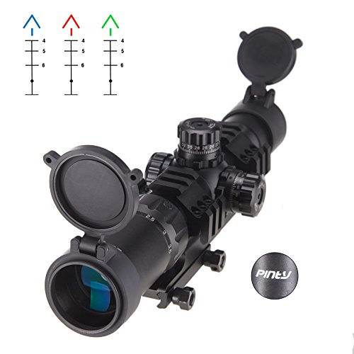Pinty 1.5-4x30mm Tactical Chevron Reticle Riflescope Red&Blue&Green Illuminated with 30mm Mount (Tri Scope Tactical Rail)