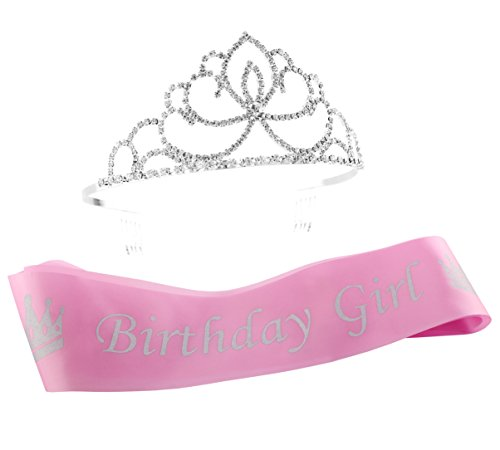 Cornucopia Brands Pink Birthday Girl Sash & Glitter Tiara 2-Piece Set; Silver Princess Crown & Satin Sash Combo