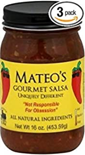 Mateos Gourmet Salsa 16oz Glass Jar (Pack of 3) Select Heat Level Below (