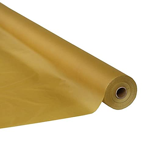 Amazon Com Stumps Metallic Gold Plastic Table Cover Roll 250 Feet