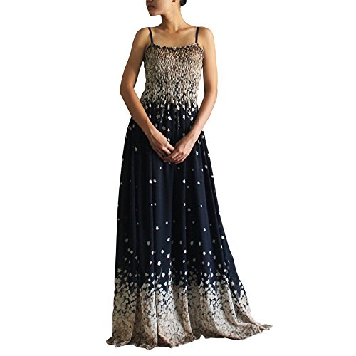 Informal Wedding Gown Long Dress - Women Party Navy Base Beige Floral Strapy Boho Long Maxi Sun Casual Dress (1X)