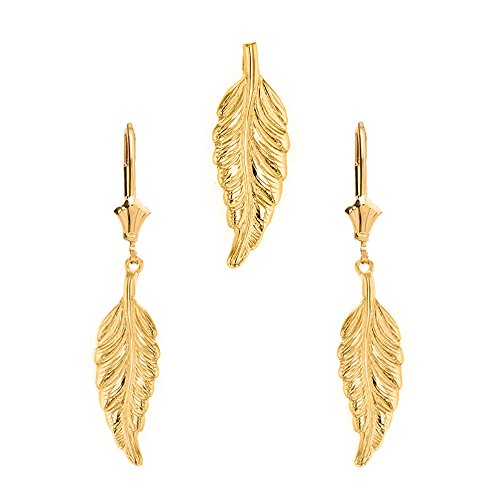 Solid 14k Yellow Gold Bohemia Leaf Feather Pendant and Earring Set ()