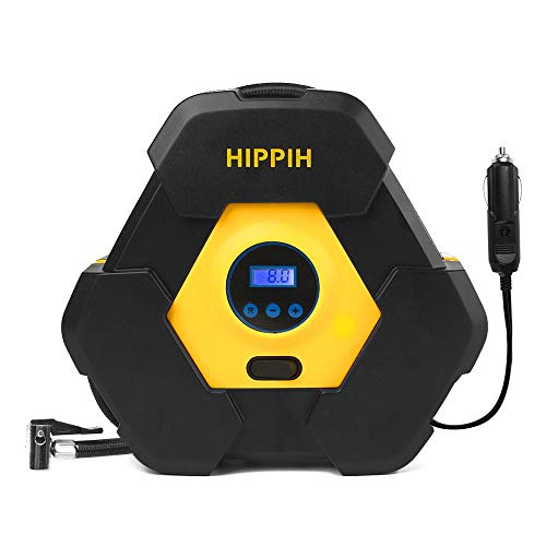 HIPPIH 12V DC Tire Inflator, Portable Tire Air Compressor Pump, 150 PSI Tire Pump for Car, Truck, Bicycle, and Other Inflatables