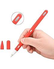 جراب من السيليكون من تيومي مزود بمقبض لقلم أبل الجيل الثاني، إكسسوارات واقية مع غطاء رأس (قطعتان)، مقاوم للصدمات، مضاد للخدوش (أحمر)