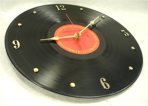 "BRUCE SPRINGSTEEN Recycled Vinyl Record Clock – ""Born In The USA"" (1984) (Recycled Clock)"