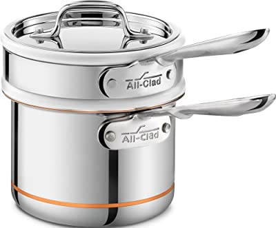 All-Clad 62025SS Copper Core 5-Ply Bonded Dishwasher Safe Porcelain Double Boiler Insert / Cookware, Silver
