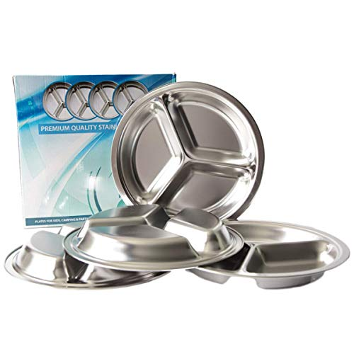 Premium Quality Stainless Steel Plates for Kids, Elderly, Camping, Party- Set of 4 by Paramount People Pty Ltd