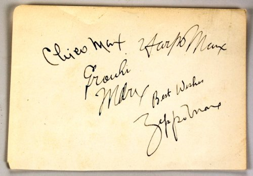 The Four Marx Brothers Autographs - Groucho / Harpo / Chico / Zeppo - VERY RARE - All 4 Brothers Signed This 4.5x6.5 Paper - Includes 8x10 Photo - Duck Soup / Animal Crackers - Collectible - Guaranteed from Bamber