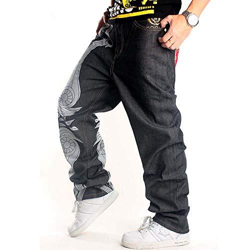 Uomo Nero Hip Jeans Passeggio Larghi Hop Stile Da 3 Pantaloni Huateng zqtnPwaP