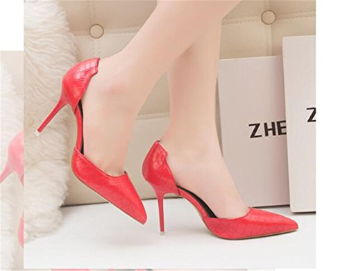 MAKEGSI Womens Pointed Toe Pumps High Heel Serpentine Pattern Shoes Red 664GzpWqjG