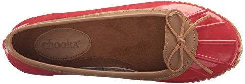 Chooka Womens 6 M Us, Rosso, Impermeabile Comfort Balletto Piatto