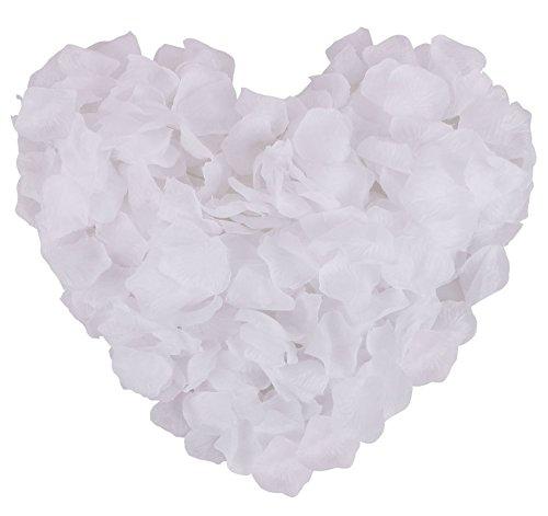 Jasmine 1000 PCS Non-woven Rose Petals Artificial Fabric Flower for Valentine Ceremony Home Bouquet(White)