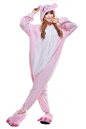 NEWCOSPLAY Unisex Adult Animal Pajamas Halloween Costume (L, Pink Pig)