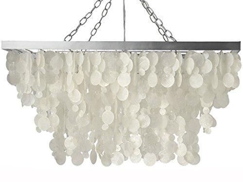 KOUBOO Rectangular Rain Drop Capiz Pendant Lamp, Natural White (Pendant Rectangular Drop)