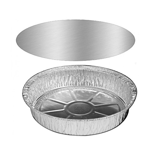 Pactiv 8ALC, 8-Inch Round Aluminum Foil Pans Combo with Lids, Take Out Disposable Tin Plates with Lids for Pies Tart Quiche (100) (Tin Plate Quiche Pan)