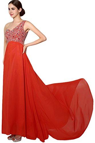 Orange Damen Promkleid Ballkleid Chiffon Mit Abendkleid Ivydressing Ein Strass Schulter U1466gqx
