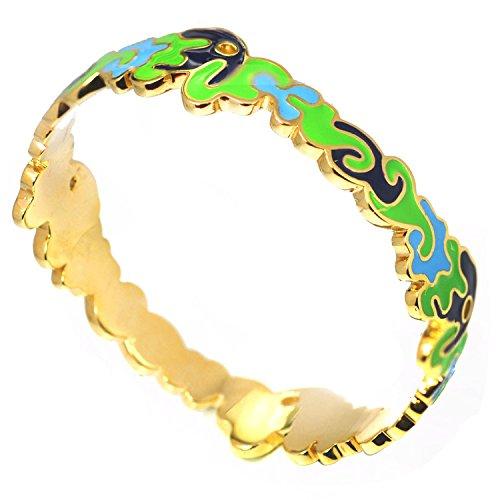 (De Buman 14k Yellow Gold Plated Enamel Bangle Bracelet)