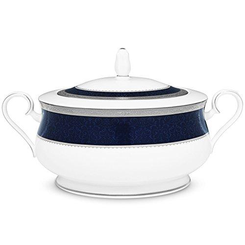 (Noritake Odessa Cobalt Platinum Covered Vegetable Bowl)