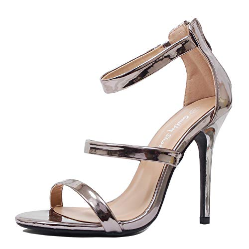 99d75d430c Guilty Shoes Women Sexy Metallic Ankle Strap Open Toe Party Stiletto High  Heel Sandals. Tap to expand